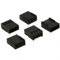 Pack of 5 Female 4 Pin Black Fan Connectors With Crimps